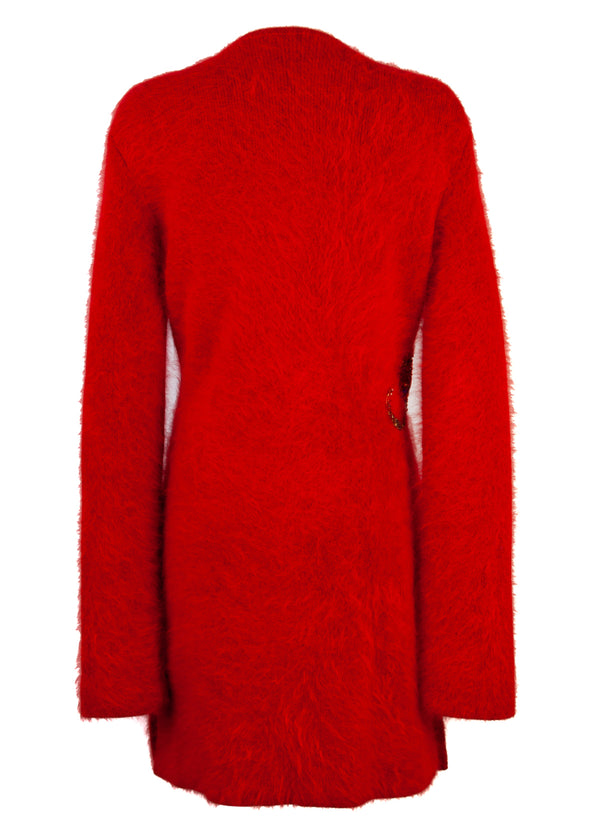 Balmain Womens Red Appliquéd Wool Sweater Dress - Tribeca Fashion House
