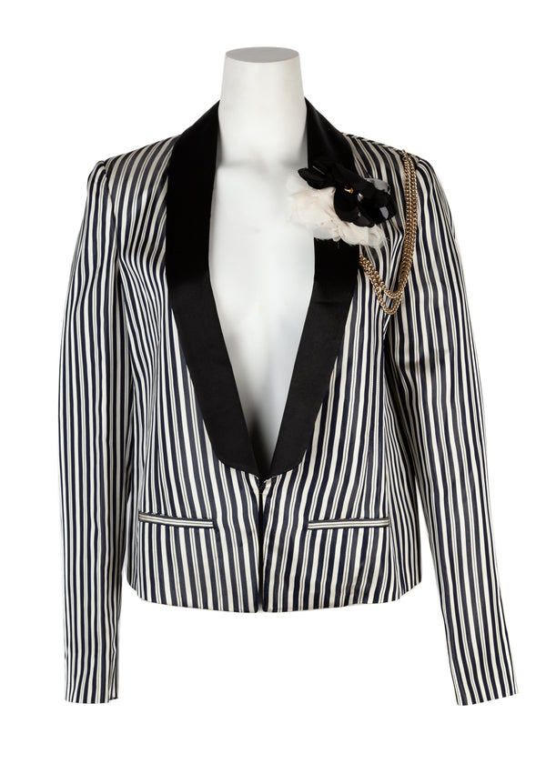 Lanvin Womens Black & White Striped Floral Brooch Jacket - Tribeca Fashion House