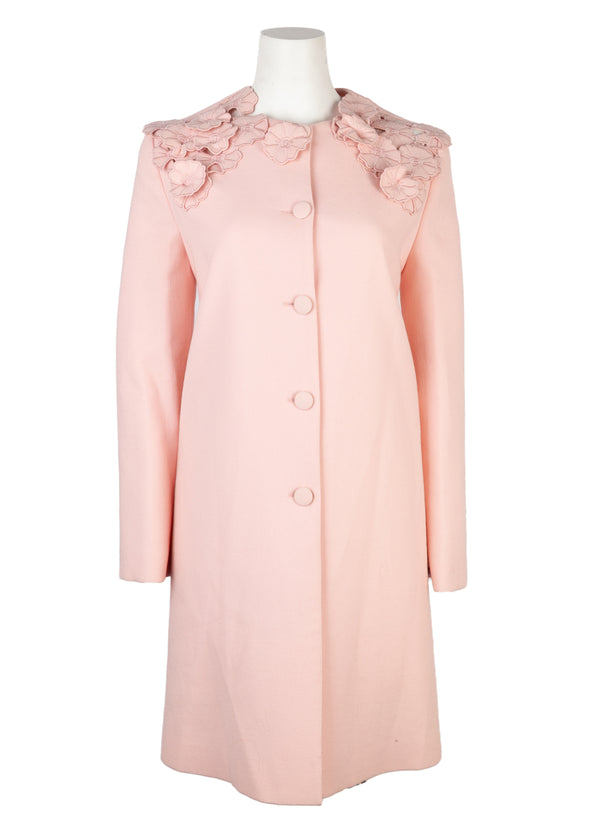 Lanvin Womens Light Pink Floral Appliqué Wool Coat - Tribeca Fashion House