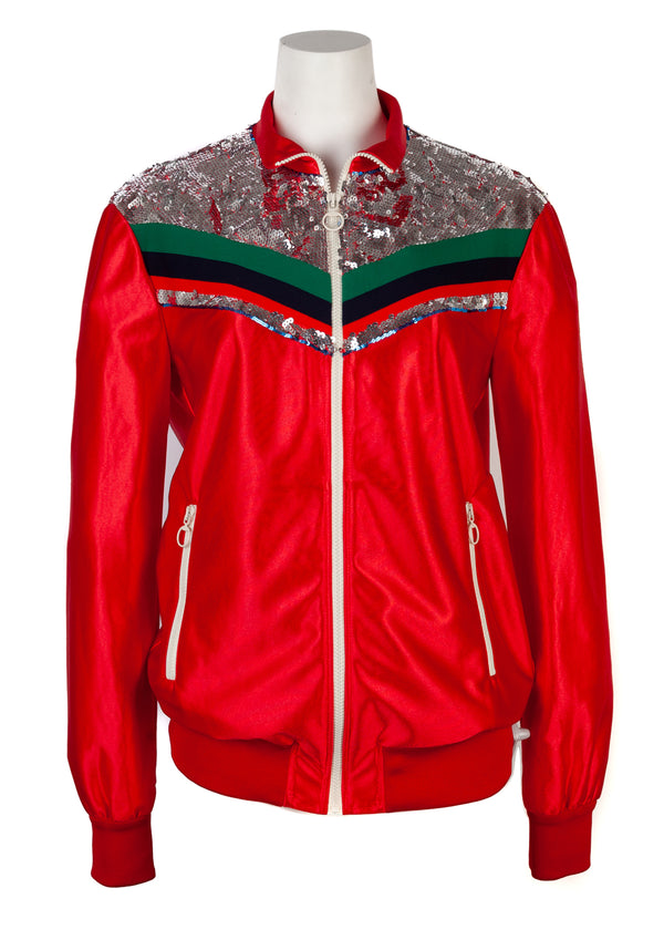 Gucci Womens Red Zipped Stripe Detail Jacket - ACCESSX