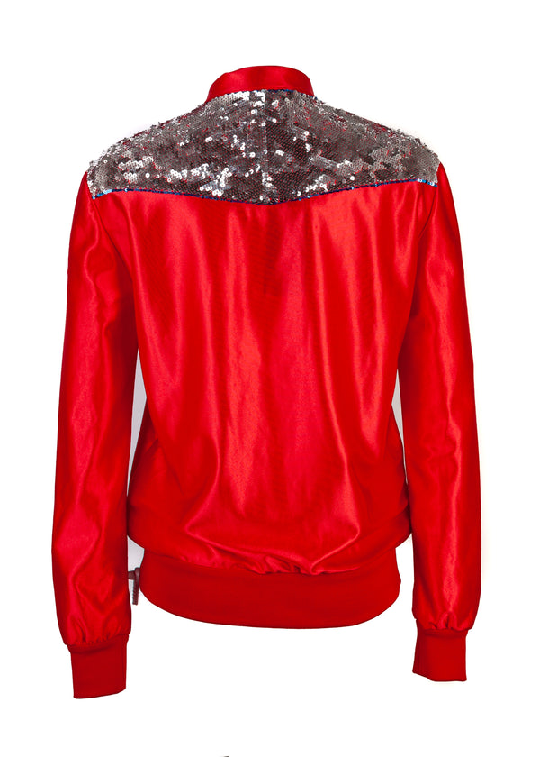 Gucci Womens Red Zipped Stripe Detail Jacket - Tribeca Fashion House
