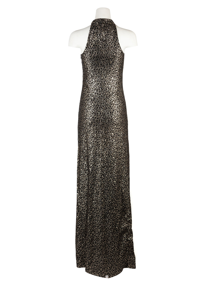 Lanvin Womens Gold Embellished Silk Blend Lamé Gown - ACCESSX