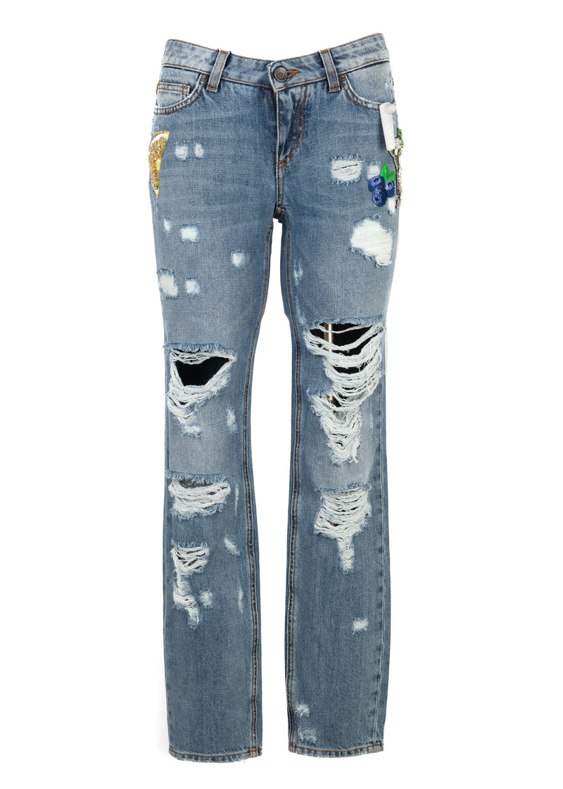 Dolce & Gabbana Womens Pretty Fit Distressed Patch Jeans - ACCESSX