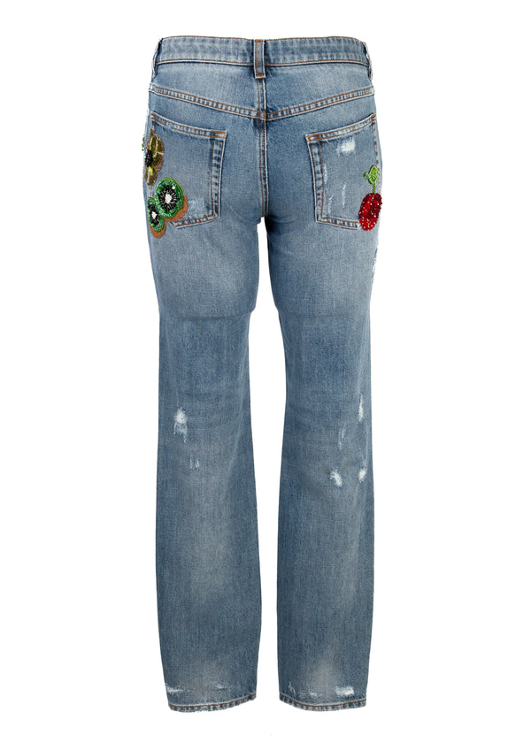 Dolce & Gabbana Womens Pretty Fit Distressed Patch Jeans - Tribeca Fashion House