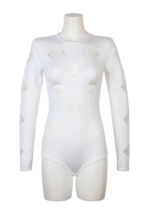 Balmain Womens White Cutouts Stretch Viscose Knit Bodysuit - ACCESSX