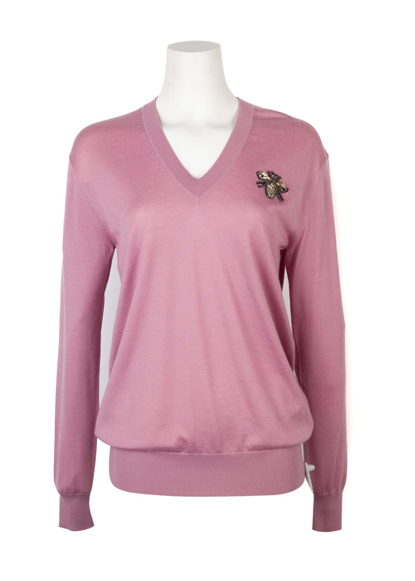 Dolce & Gabbana Womens Pink Cashmere Bee Appliqué Sweater - ACCESSX
