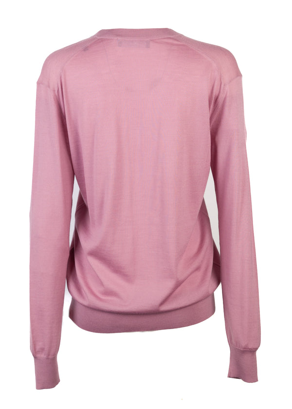 Dolce & Gabbana Womens Pink Cashmere Bee Appliqué Sweater - Tribeca Fashion House