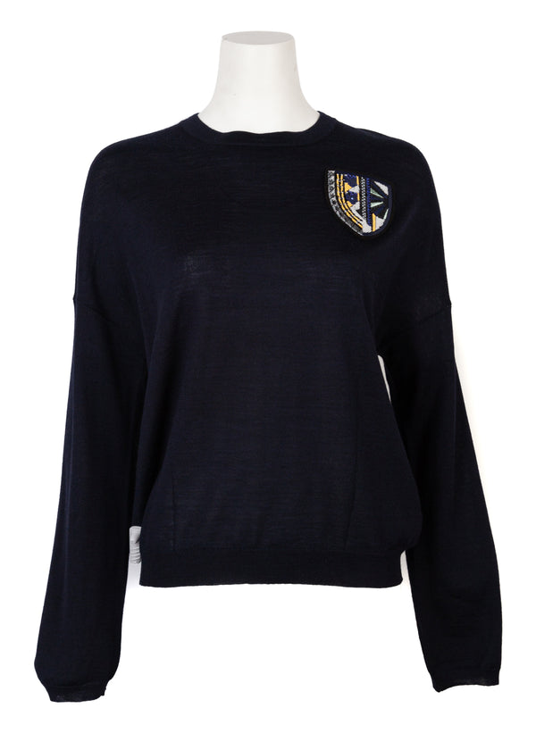 Dior Womens Navy Wool Silk Knit Badge Appliqué Sweater - Tribeca Fashion House