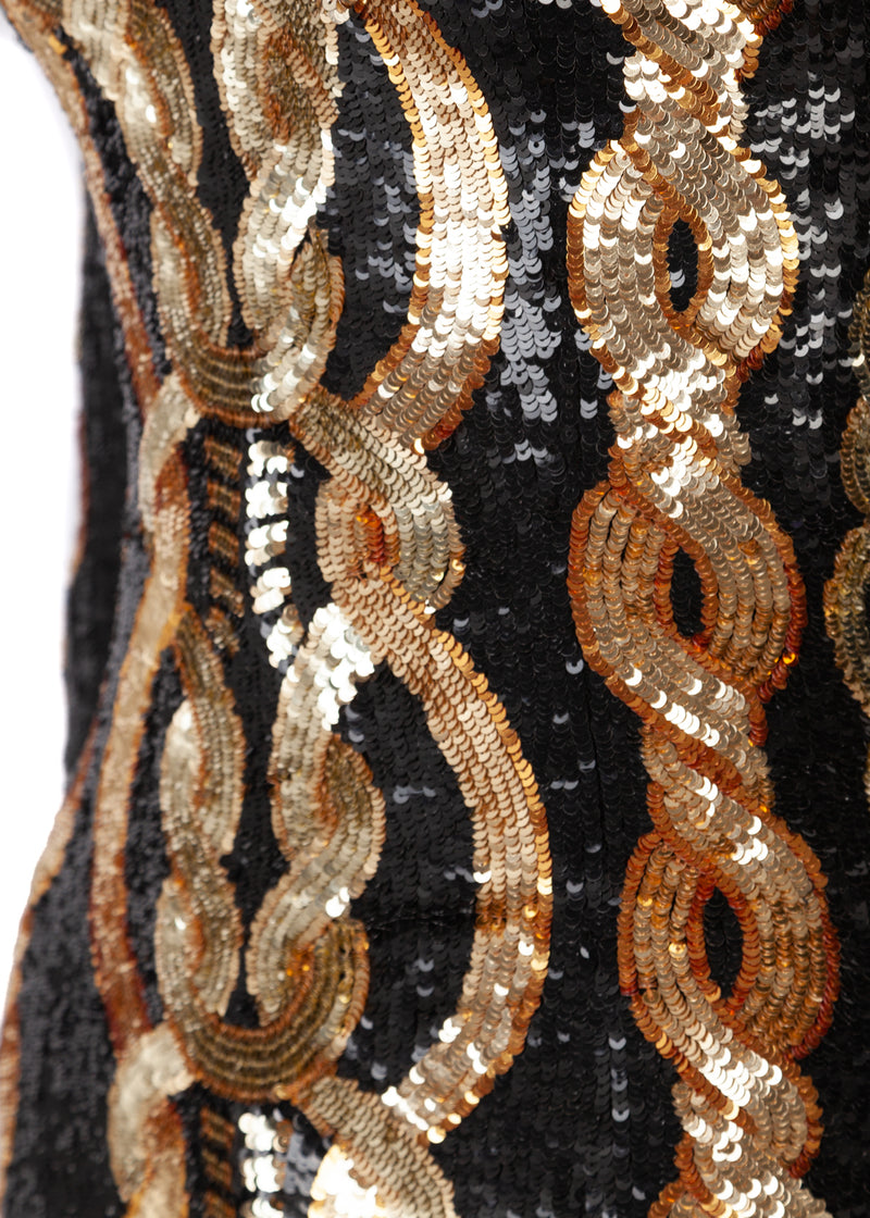Balmain Womens Black Gold Fitted Sequin Cable Mini Dress - ACCESSX