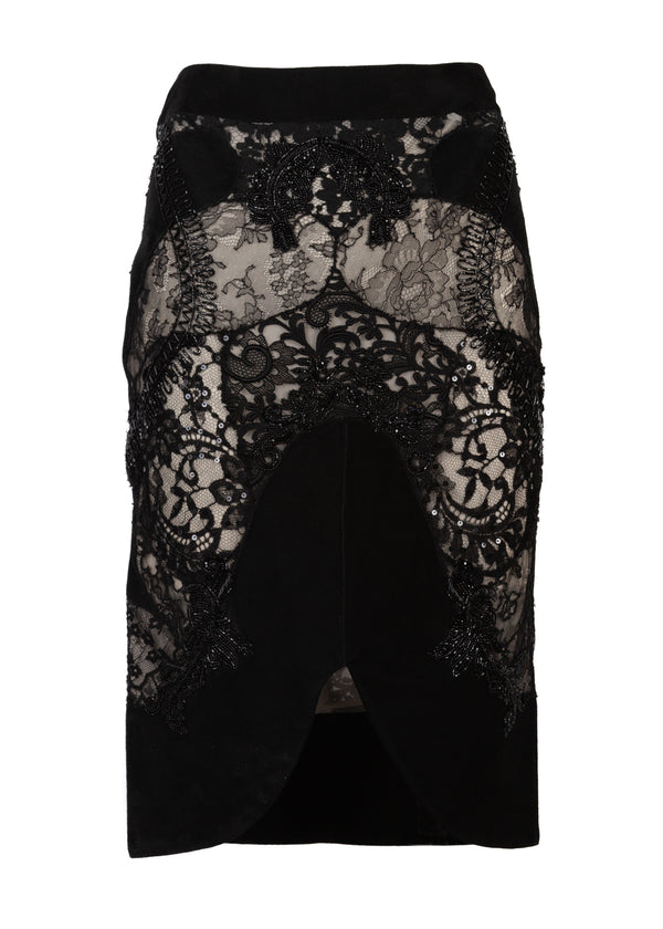 Tom Ford Womens Black Beaded Lace Leather Pencil Skirt - Tribeca Fashion House