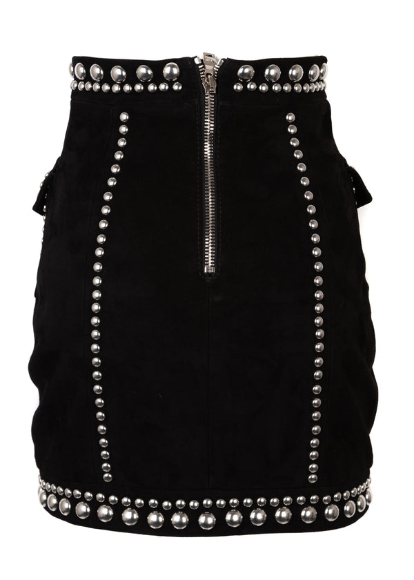 Balmain Womens Black Studded Suede Leather Mini Skirt - ACCESSX