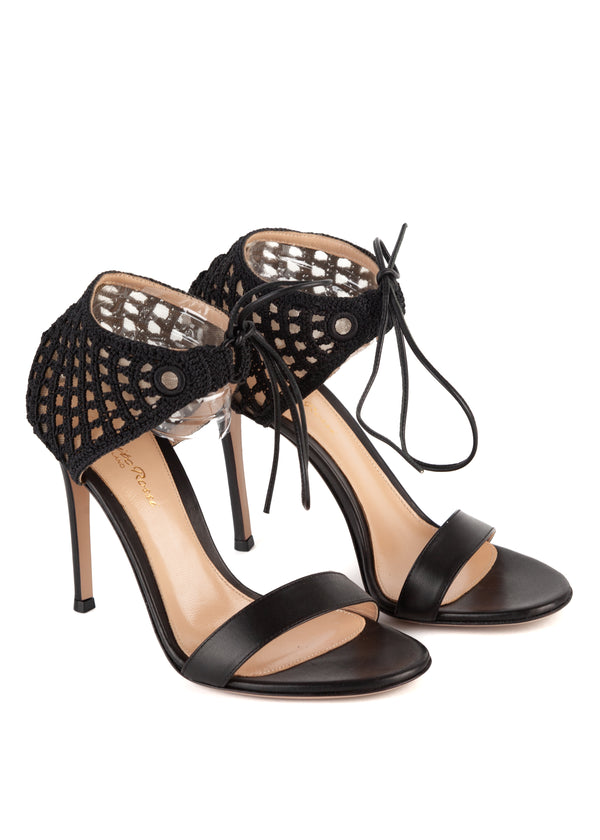 Gianvito Rossi Womens 105 Black Mesh Caged Leather Sandals - ACCESSX