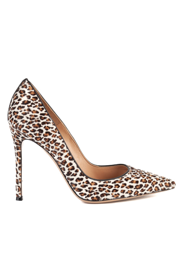 Gianvito Rossi Womens 105 Cheetah Printed Pony Hair Pumps - ACCESSX