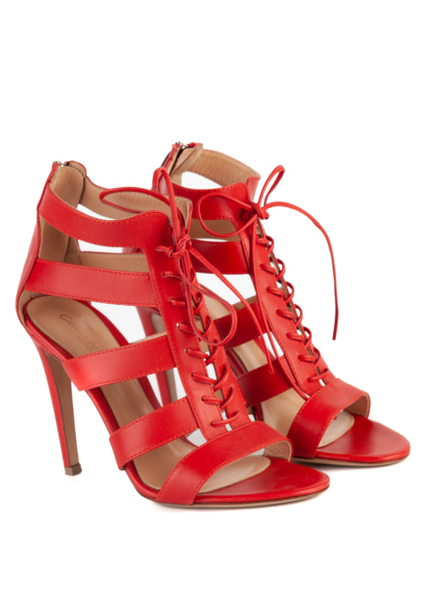 Gianvito Rossi 105 Red Leather Lace Up Sandals - ACCESSX