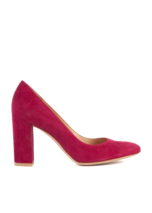 Gianvito Rossi Womens 105 Magenta Suede Block Heel Pumps - Tribeca Fashion House