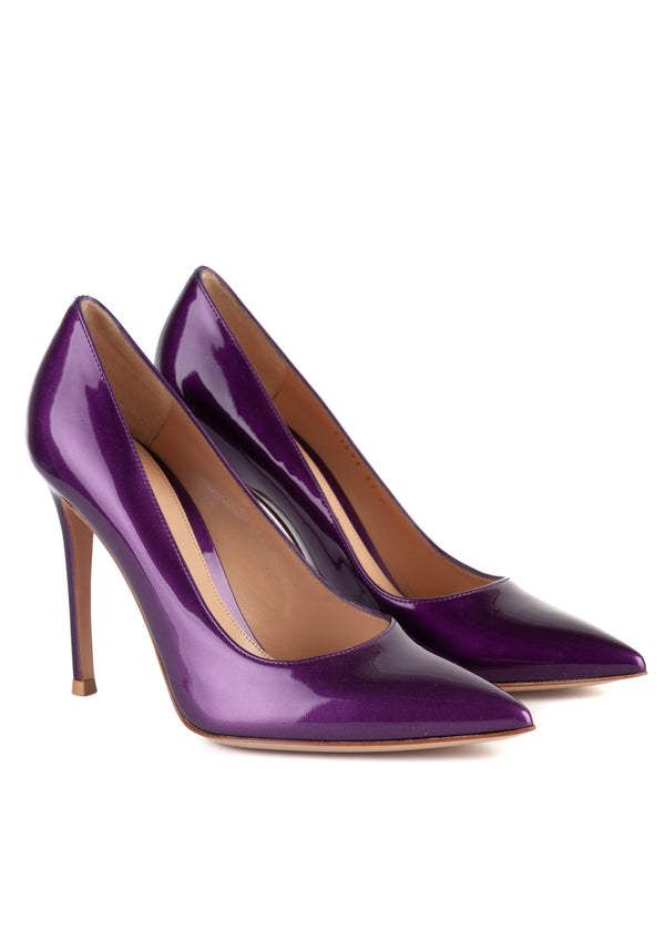Gianvito Rossi Womens 105 Purple Patent Leather Pumps - Tribeca Fashion House