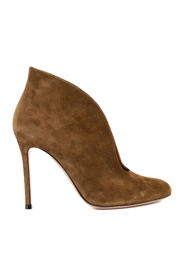 Gianvito Rossi Womens Olive Vamp Suede Heeled Ankle Boots - Tribeca Fashion House