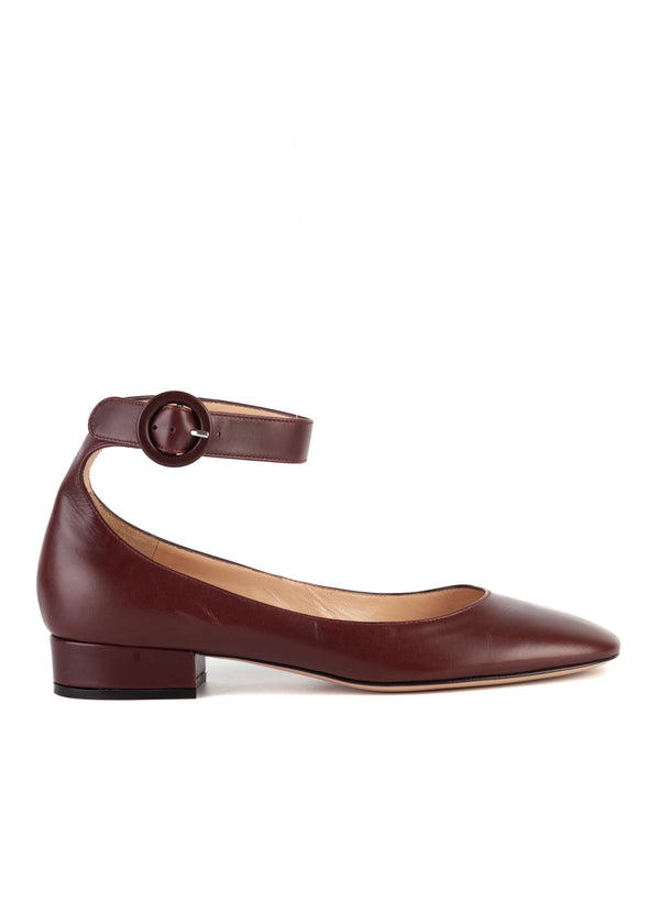 Gianvito Rossi Womens 25 Maroon Leather Ankle Strap Flats - Tribeca Fashion House