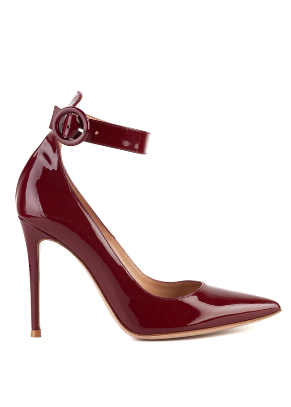 Gianvito Rossi 105 Maroon Patent Leather Ankle Wrap Pumps - Tribeca Fashion House