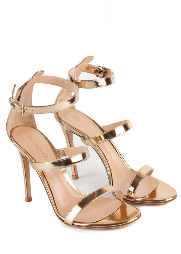 Gianvito Rossi 105 Gold Patent Leather Triple Strap Sandals - Tribeca Fashion House