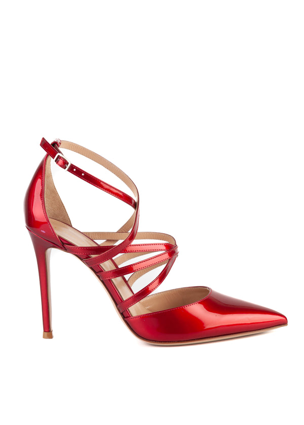 Gianvito Rossi Womens 105 Red Patent Leather Strappy Pumps - ACCESSX