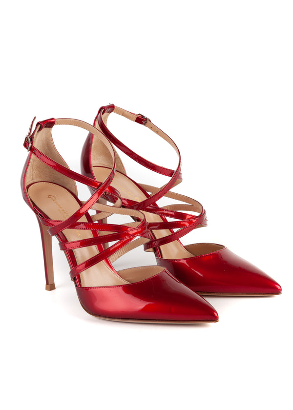 Gianvito Rossi Womens 105 Red Patent Leather Strappy Pumps - Tribeca Fashion House