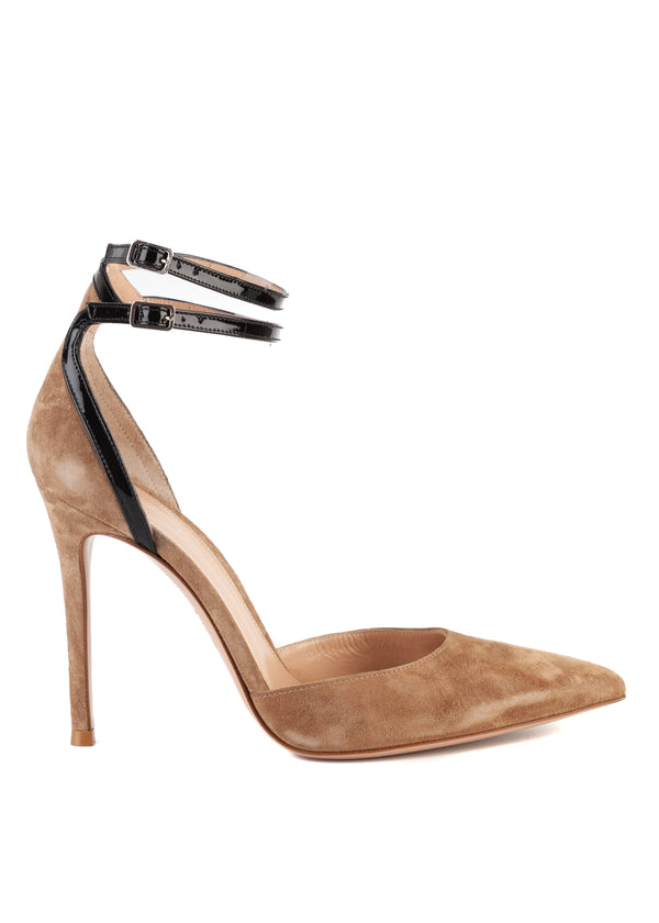 Gianvito Rossi Womens 105 Brown Suede Ankle Strap Pumps - ACCESSX