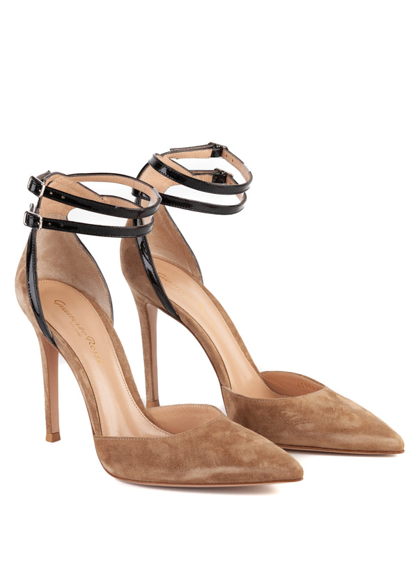 Gianvito Rossi Womens 105 Brown Suede Ankle Strap Pumps - Tribeca Fashion House