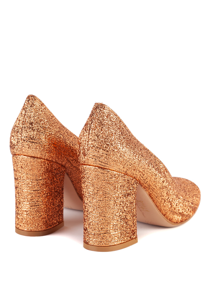 Gianvito Rossi Womens 85 Copper Glitter Chunky Heeled Pumps - ACCESSX