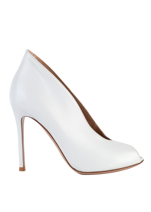 Gianvito Rossi Womens White Vamp Leather Heeled Ankle Boots - Tribeca Fashion House