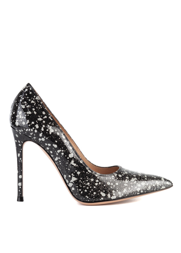 Gianvito Rossi Womens 105 Black Metallic Spotted Pumps - ACCESSX