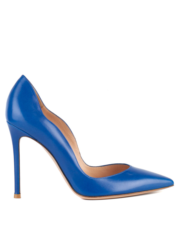 Gianvito Rossi Womens 105 Electric Blue Wave Leather Pumps - ACCESSX