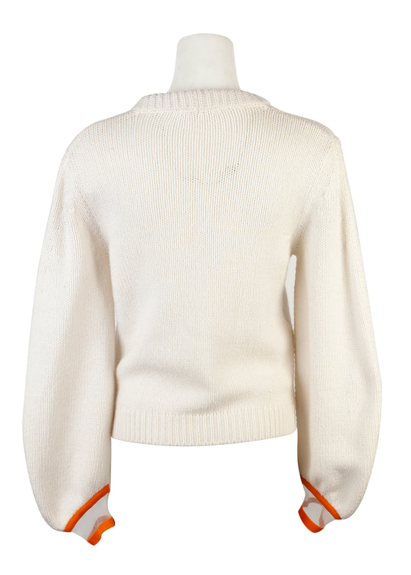 Fendi Womens Ivory Cashmere Mink Fur Branch Knit Sweater - Tribeca Fashion House