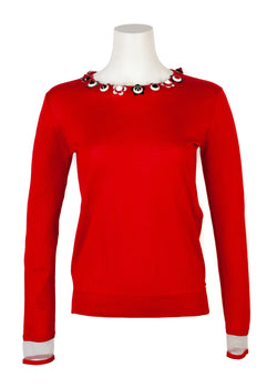 Fendi Womens Red Silk Cashmere Studded Floral Sweater - ACCESSX