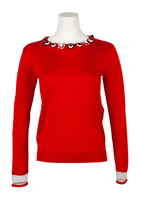 Fendi Womens Red Silk Cashmere Studded Floral Sweater - Tribeca Fashion House