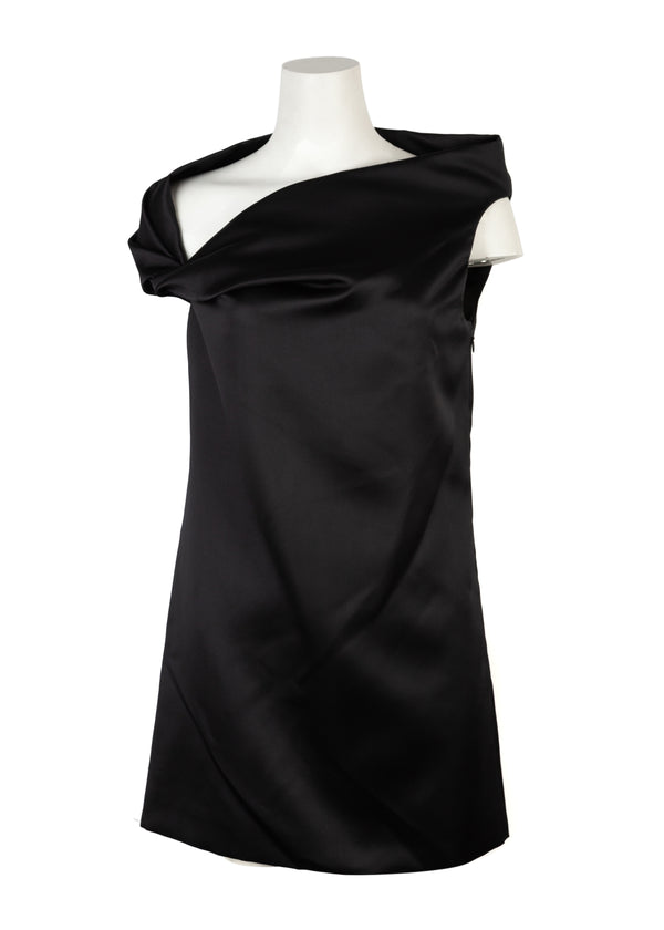 Balenciaga Womens Black One Twist Mini Dress - ACCESSX