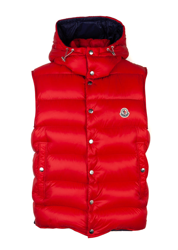 Moncler Mens Red Billecart Padded Down Vest - Tribeca Fashion House