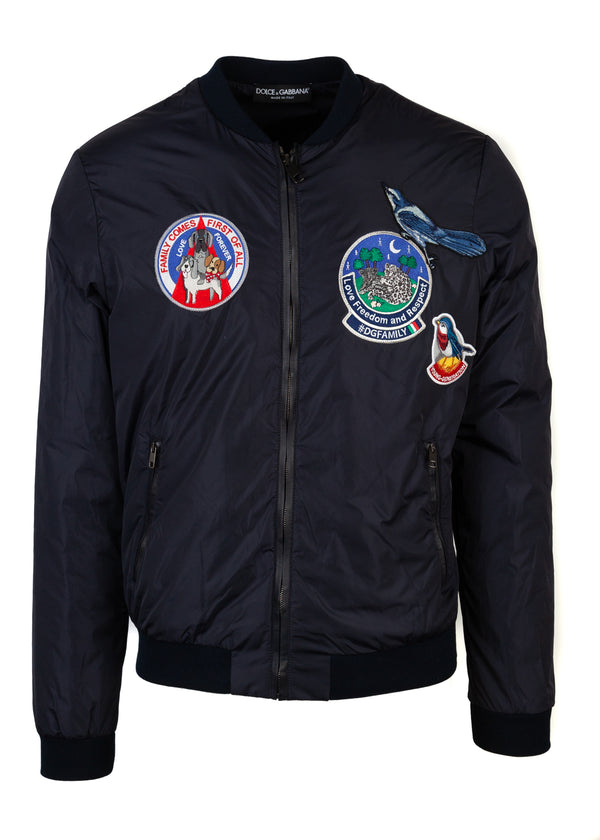 Dolce & Gabbana Mens Navy Bird Patch Bomber - ACCESSX