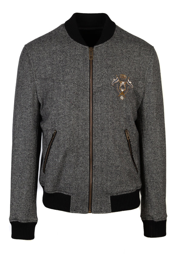 Dolce & Gabbana Mens Wool Herringbone Bee Crown Bomber - Tribeca Fashion House