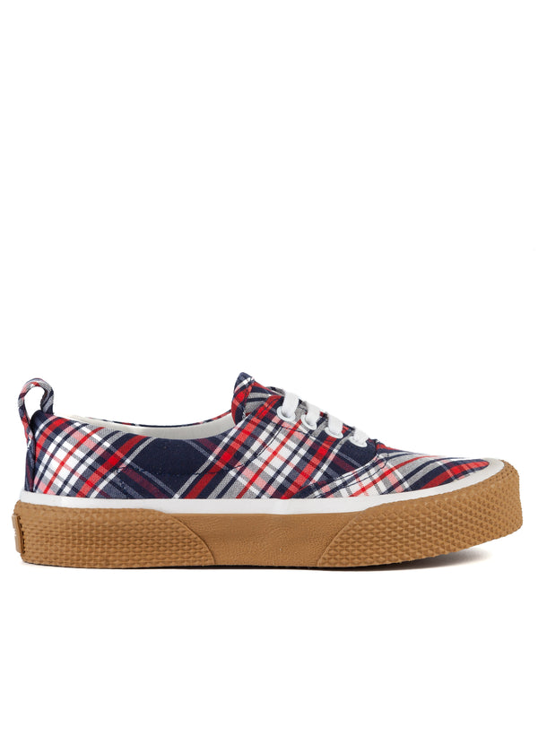 Celine Womens 180° Navy Camel Check Lace Up Sneakers - Tribeca Fashion House