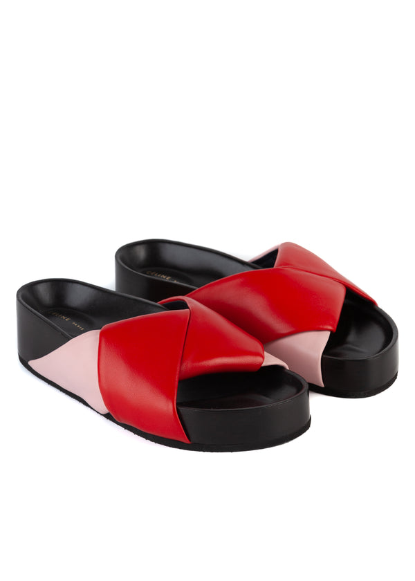 Celine Womens Red & Pink Twist Sandals - Tribeca Fashion House