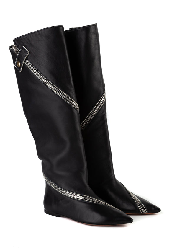 Celine Womens Black Knee High Lambskin Leather Zip Boots - Tribeca Fashion House