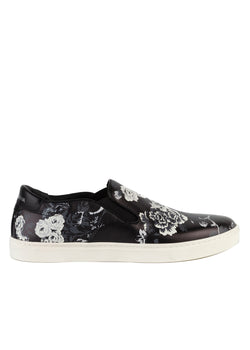 Dolce & Gabbana Mens Black Leather Slip On Floral Print Sneakers - ACCESSX