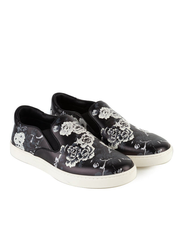 Dolce & Gabbana Mens Black Leather Slip On Floral Print Sneakers - Tribeca Fashion House