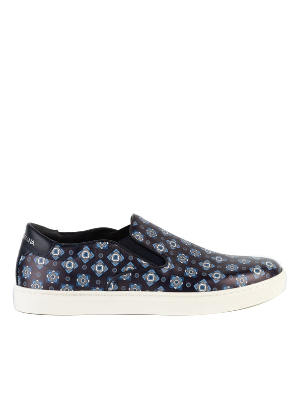 Dolce & Gabbana Mens Black Leather Slip On Diamond Print Sneakers - Tribeca Fashion House