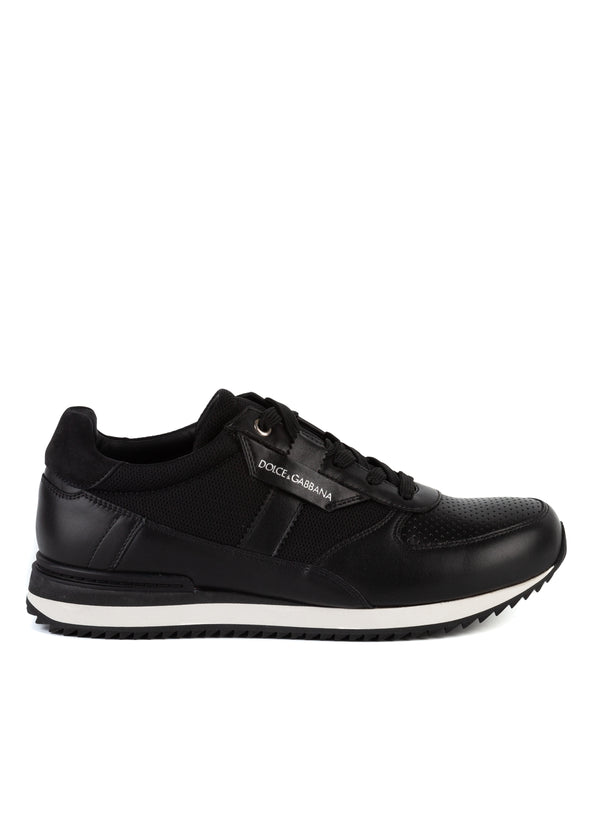 Dolce & Gabbana Mens Black Leather Fabric Lace Up Sneakers - ACCESSX