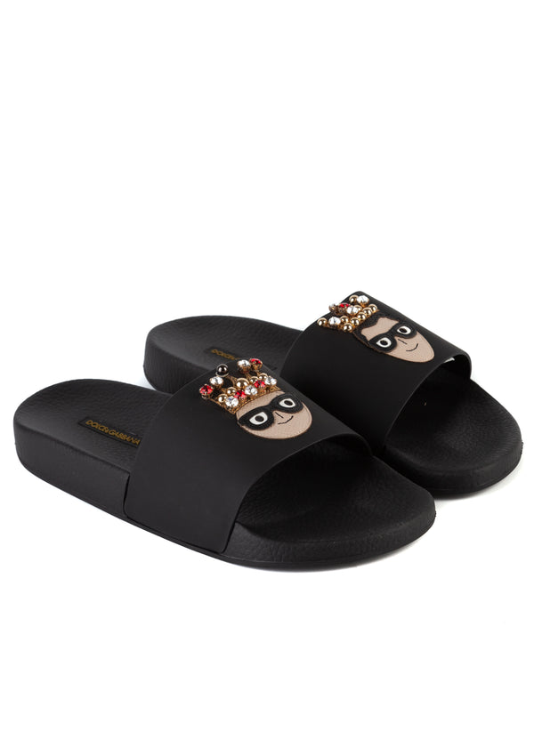 Dolce & Gabbana Womens Black Leather Designer's Patch Pool Slides - Tribeca Fashion House