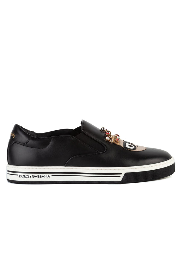 Dolce & Gabbana Mens Black Leather Slip On Crown Sneakers - Tribeca Fashion House