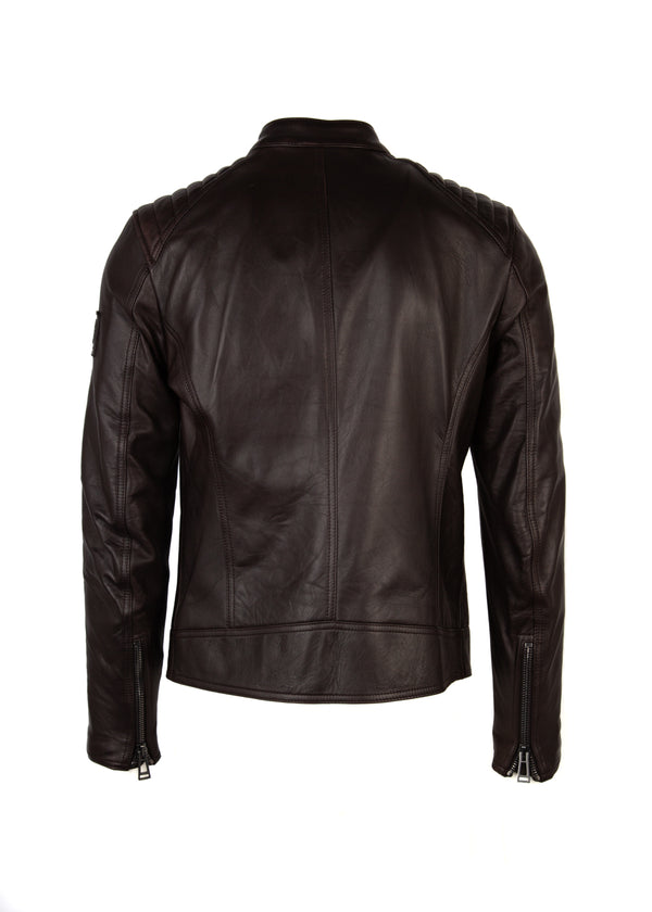 Belstaff Mens Dark Brown V Racer Moto Lamb Leather Jacket - Tribeca Fashion House