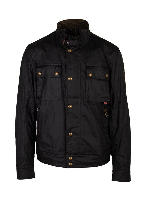 Belstaff Mens Black Waxed Cotton Racemaster Jacket - ACCESSX